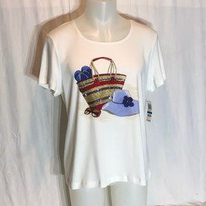 KAREN SCOTT WOMAN Size XL Cotton Knit Tee Top Red